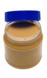 Öffnen Sie Glas Erdnussbutter mit Pfad Stockfotografie