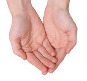 Öffnen Sie Hände Stockfoto