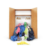 Öffnen Sie hölzerne Garderobe Stockbilder