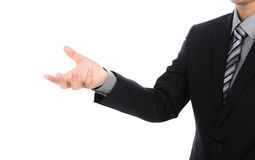 Öffnen Sie Hand des Geschäftsmannes Lizenzfreie Stockfotos