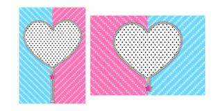 Öffnen Sie Herzreißverschluß mit nettem Verschluss auf hellem blauem rosa Hintergrund lizenzfreie abbildung