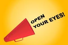 Öffnen Sie Ihre Augen! Konzept Stockfoto