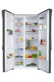 Öffnen Sie Kühlschrank voll von frischen Obst und Gemüse von lizenzfreie stockfotos