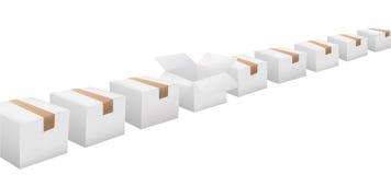 Öffnen Sie Karton in der Zeile der weißen Verschiffenkästen lizenzfreie abbildung