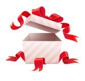 Öffnen Sie Kasten mit Band für Feriengeschenk Stockbild
