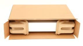 Öffnen Sie Kasten mit schützender Verpackung stockbild