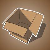 Öffnen Sie Kasten mit weißem Entwurf. Karikaturvektor Stockfotos