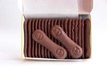 Öffnen Sie Kasten Schokoladenoblaten stockbild