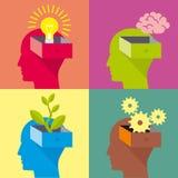 Öffnen Sie Kopf, Kopf des Mannes, flaches Design lizenzfreie abbildung