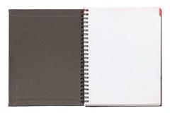 Öffnen Sie leere Notizbuch-Schwarz-Abdeckung. Stockbild
