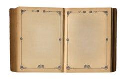 Öffnen Sie leeres Buch mit antikem Blumenseitenrahmen Stockfotografie