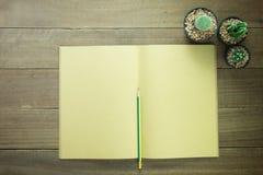 Öffnen Sie leeres Buch mit einem Bleistift und einem Kaktus Stockfoto