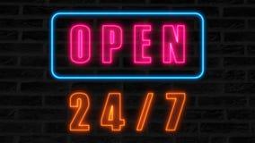 Öffnen Sie 24-7 Leuchtreklame, Retrostilschild für Bar, oder Verein, 3d übertragen computererzeugten Hintergrund Lizenzfreies Stockbild