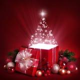 Öffnen Sie magischen Geschenkkasten Stockbilder