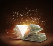 Öffnen Sie magisches Buch mit magischen Licht- und Fliegenbuchstaben Stockfotografie