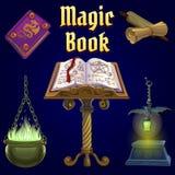Öffnen Sie magisches Buch und Satz Märchenelemente lizenzfreie abbildung