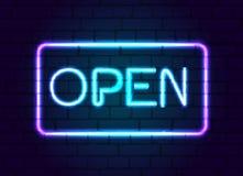 Öffnen Sie Neonzeichen Vektor Abbildung