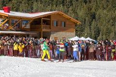 Öffnen Sie neue Skijahreszeit 2015-2016 in Bansko, Bulgarien Stockfotos