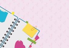 Öffnen Sie Notizblock auf einer Spirale mit Bookmarks und Leerseiten Eine einfache flache Vektorillustration lokalisiert auf eine Lizenzfreie Abbildung