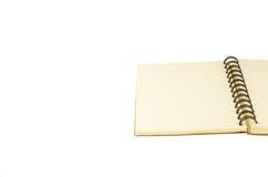Öffnen Sie Notizbuch auf weißem Hintergrund Stockfotografie