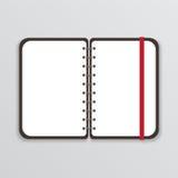 Öffnen Sie Notizbuch mit weißer Seite und elastischem Band Lizenzfreies Stockbild