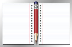 Öffnen Sie Notizbuch und Feder Stockbild