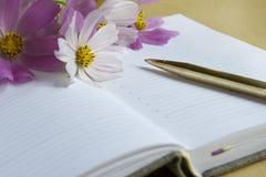 Öffnen Sie Notizbuch und Stift Stockbild