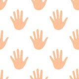 Öffnen Sie Palmen-Handflache Ikonen-nahtloses Muster lizenzfreie abbildung