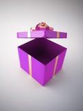 Öffnen Sie purpurroten Geschenkkasten Stockbild