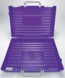 Öffnen Sie purpurroten Plastikschulekasten Lizenzfreies Stockfoto