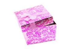 Öffnen Sie rosafarbenen Geschenkkasten Stockfotos
