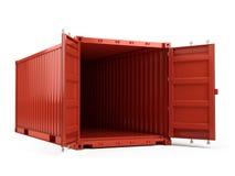 Öffnen Sie rote Frachtversandverpackung gegen einen weißen Hintergrund Lizenzfreie Stockfotos