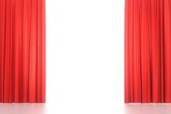 Öffnen Sie rote Hauptvorhänge stockfotos