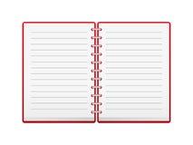 Öffnen Sie rotes Notizbuch stock abbildung