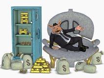 Öffnen Sie Safe mit Geld und Gold und ein reicher Mann vektor abbildung