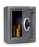 Öffnen Sie Safe mit Münzen Stockfotos