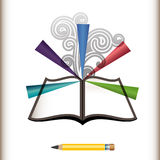 Öffnen Sie Seiten des Buches mit Explosion der Farbe und des Bleistifts Lizenzfreies Stockbild