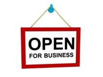 Öffnen Sie sich für Geschäftszeichen Stockbild
