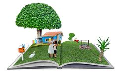 Öffnen Sie sich knallen oben Buch familyman und Haus in der Art des Gartens 3d, hom Stockfoto