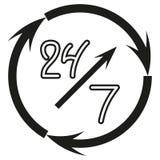 Öffnen Sie sich rund um die Uhr, Zeichen 24 Stunden pro Tag und 7 Tage in der Woche, die Hand gezeichnete Ikone, die auf weißem H Stockfotos