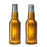 Öffnen Sie sich und nahe Bierflasche Weinleseschwarz- und -farbvektorstichillustration Lizenzfreie Stockbilder