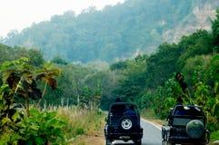 Öffnen Sie sich weg von den Straßenautos auf einem Dschungelweg Lizenzfreies Stockfoto