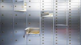 Öffnen Sie sichere Türen 3d der Bank Stockbilder