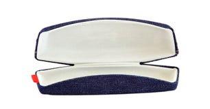 Öffnen Sie Sonnenbrillekasten des blauen Baumwollstoffs Stockfoto
