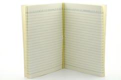 Öffnen Sie Standnotizbuch auf weißem Hintergrund Lizenzfreie Stockbilder