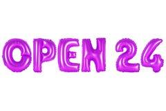 Öffnen Sie 24 Stunden, purpurrote Farbe Lizenzfreie Stockbilder