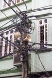 Öffnen Sie Telekommunikation und Kabelbaum in Hanoi, Vietnam stockbilder