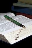 Öffnen Sie Wörterbuch und Füllfederhalter Stockfotos