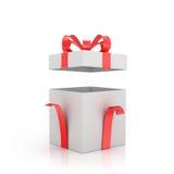 Öffnen Sie weiße Geschenkbox mit rotem Bogen und rotem Band stock abbildung