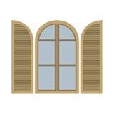 Öffnen Sie Weinlese-Bogen-Fenster Lizenzfreies Stockbild